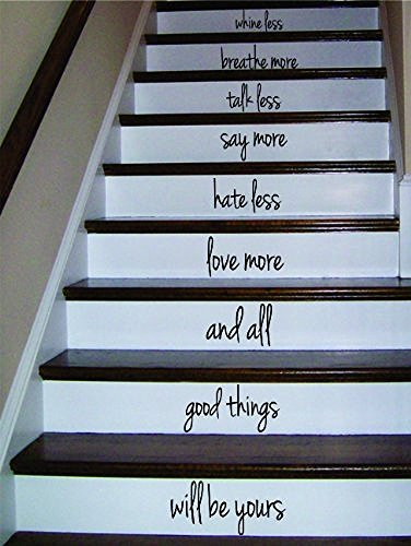 tickers Whine Less Breathe More Stairs Quote Sticker Wall Vinyl Art He Family for You ()