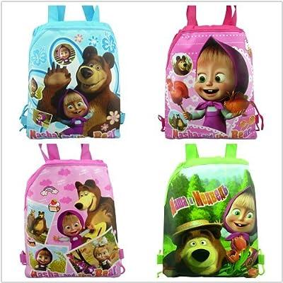 4pcs Masha&bear Drawstring Backpack Party Bags Cartoon Package Kid Gifts by Three Men