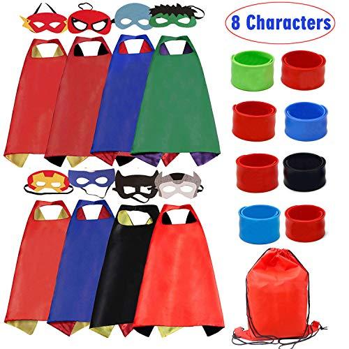 RioRand Kids Dress Up Costumes Cartoon Satin 8pcs Characters Superhero Capes with Felt Masks and Slap Bracelets