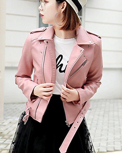 Mujer Chaqueta Cuero Fitted Pu Manga Slim Larga Jacket Pink Cremallera awrqUBax