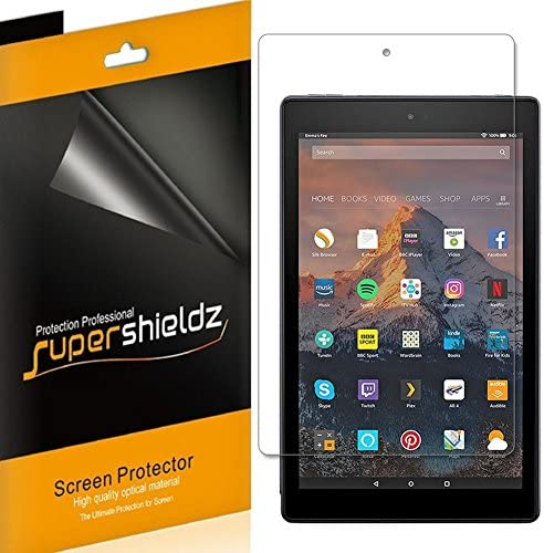 (3 Pack) Supershieldz for All New Fire HD 10 Tablet 10.1 inch (ninth and seventh Generation, 2019 and 2017 Release) Screen Protector, High Definition Clear Shield (PET)