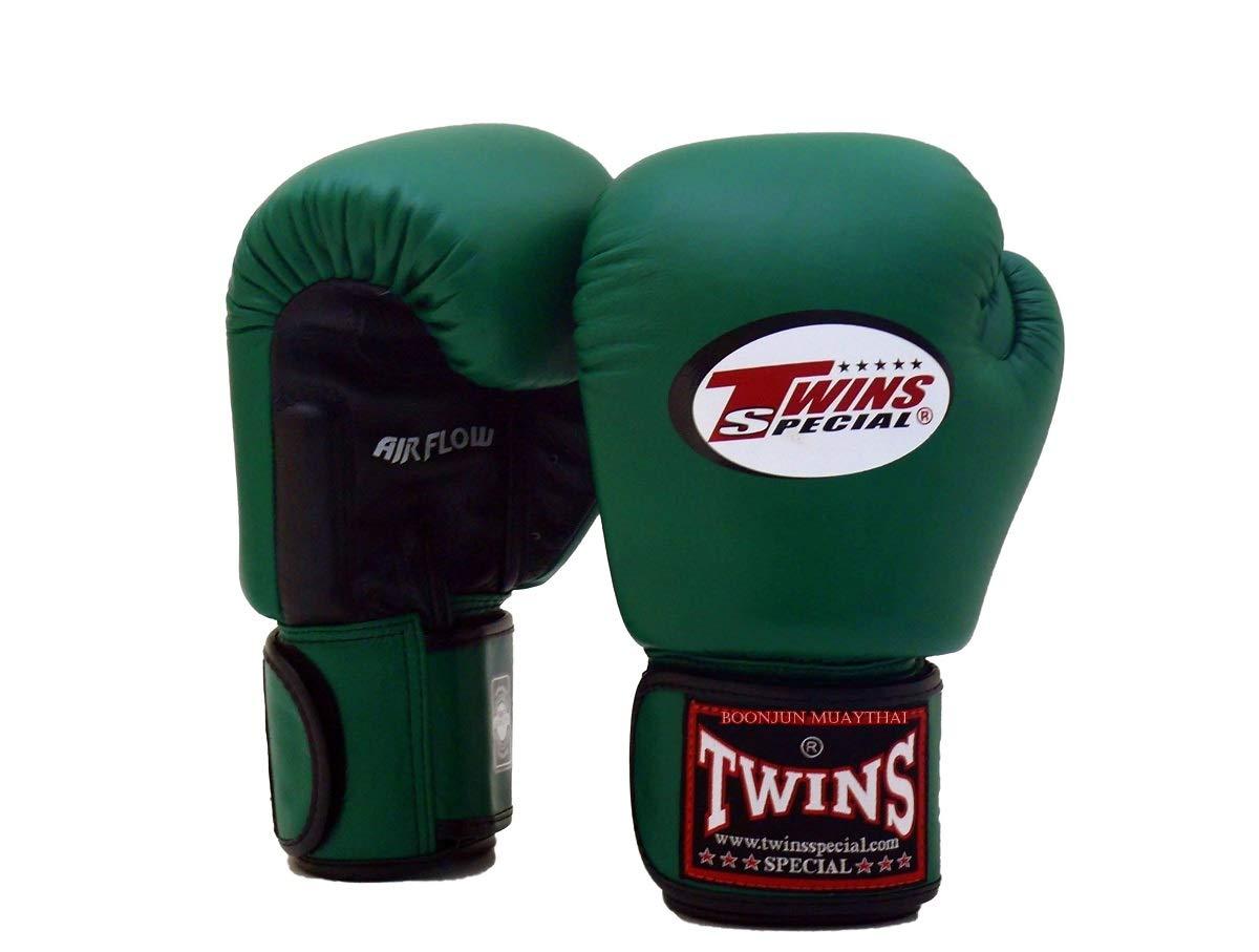 Twins Special ムエタイボクシンググローブ BGVLA 2 エアフローグローブ トレーニングやスパーリング用ユニベサルグローブ (ブラック/ダークグリーン、12オンス)