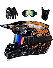 hongweifd Downhill helm lichtgewicht motorcross full face Helm bril masker handschoenen (Set van vier stuks) BMX ATV MTB Scooter integrale Helm