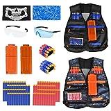 Kids Tactical Vest - 2Pack Adjustable Tactical Jacket Vest Kit for Nerf Guns N-Strike Elite Series Toys with 80Dart Bullets, 2Boys Tactical Vests, 2Reload Clip, 2Face Mask, 2Wrist Band&2Safety Glasses