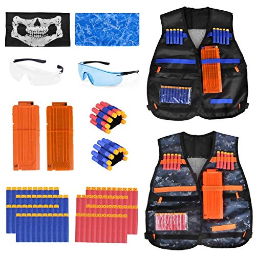 Kids Tactical Vest - 2Pack Adjustable Tactical Jacket Vest Kit for Nerf Guns N-Strike Elite Series Toys with 80Dart Bullets, 2Boys Tactical Vests, 2Reload Clip, 2Face Mask, 2Wrist Band&2Safety Glasses