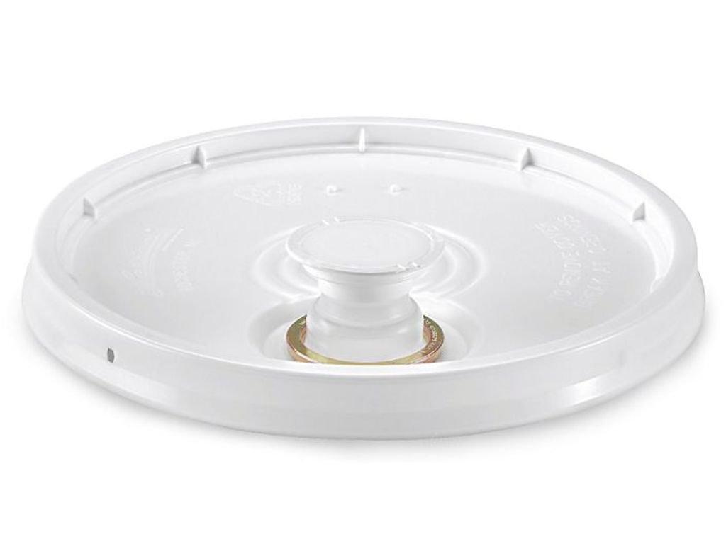 2 Gallon White Plastic Snap-on Pail Lid w/Pour Spout ~ (1 Lid) ~ HDPE (High Density Polyethylene) Bucket Top