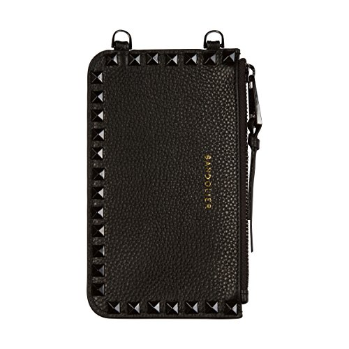 Stud Pouch - Bandolier [Sarah] Leather Pouch - Black with Pewter Accent and Pyramid Studs - Compatible with All Bandolier Phone Cases