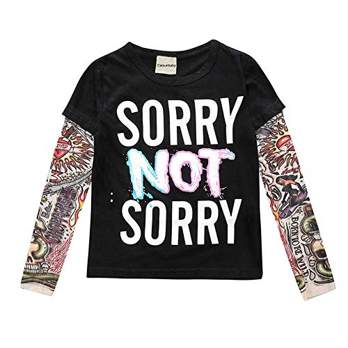 Toddler Baby Girl Boy Top Sorry NOT Sorry Letter Tattoo Long Sleeve Tee Shirt Fall Clothes