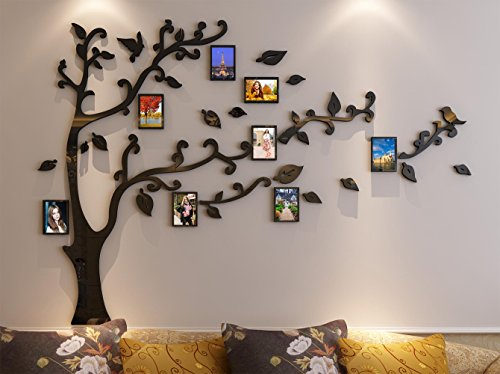 3d Picture Frames Tree Wall Murals for Living Room Bedroom Sofa Backdrop Tv Wall Background, Originality Stickers Gift, Removable Wall Decor Decal Sticker (50(H) x 70(W) inches)