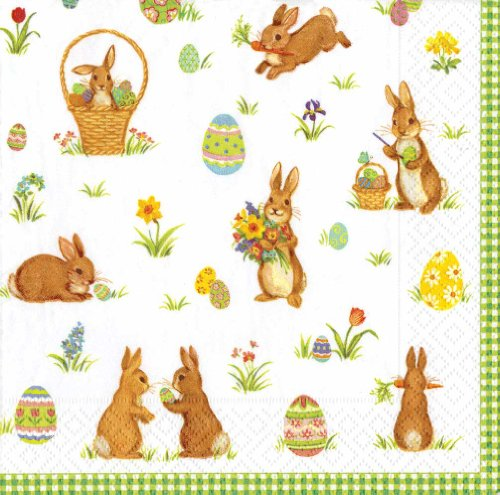 Entertaining with Caspari Cocktail Napkin, Cottontails Green, 20-Pack