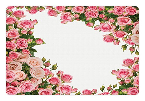 Bush Frame (Lunarable Rose Pet Mat for Food and Water, Rose Bushes Frame with Bridal Themed Elements Park Summer Occasions Illustration, Rectangle Non-Slip Rubber Mat for Dogs and Cats, Pink Green White)