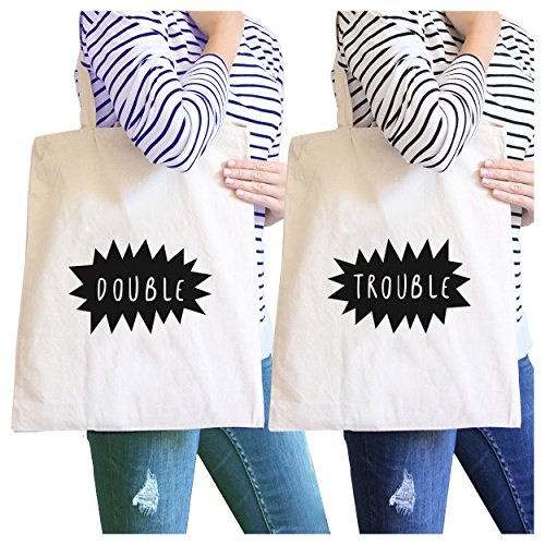 365 Printing Double Trouble Natural BFF Matching Canvas Tote Cute Christmas Gift (Double Trouble Tote)