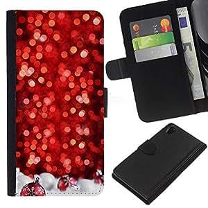 KLONGSHOP // Tirón de la caja Cartera de cuero con ranuras para tarjetas - Chrismas Árbol rojo decorado Blanca - Sony Xperia Z2 D6502 //