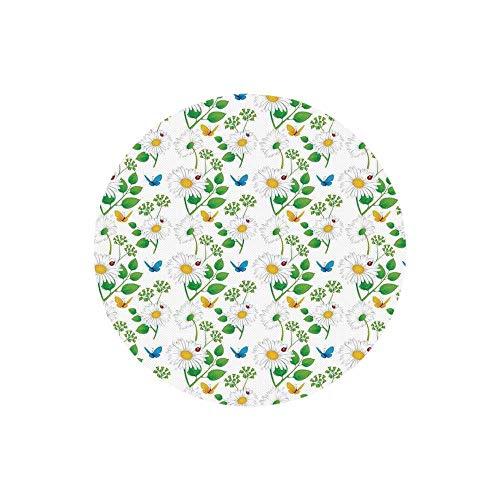 - Ladybugs Fashion Round Mousepad,Macro Chamomiles and Ladybugs Illustration Playful Magic Spirits of The Nature for Office,7.87