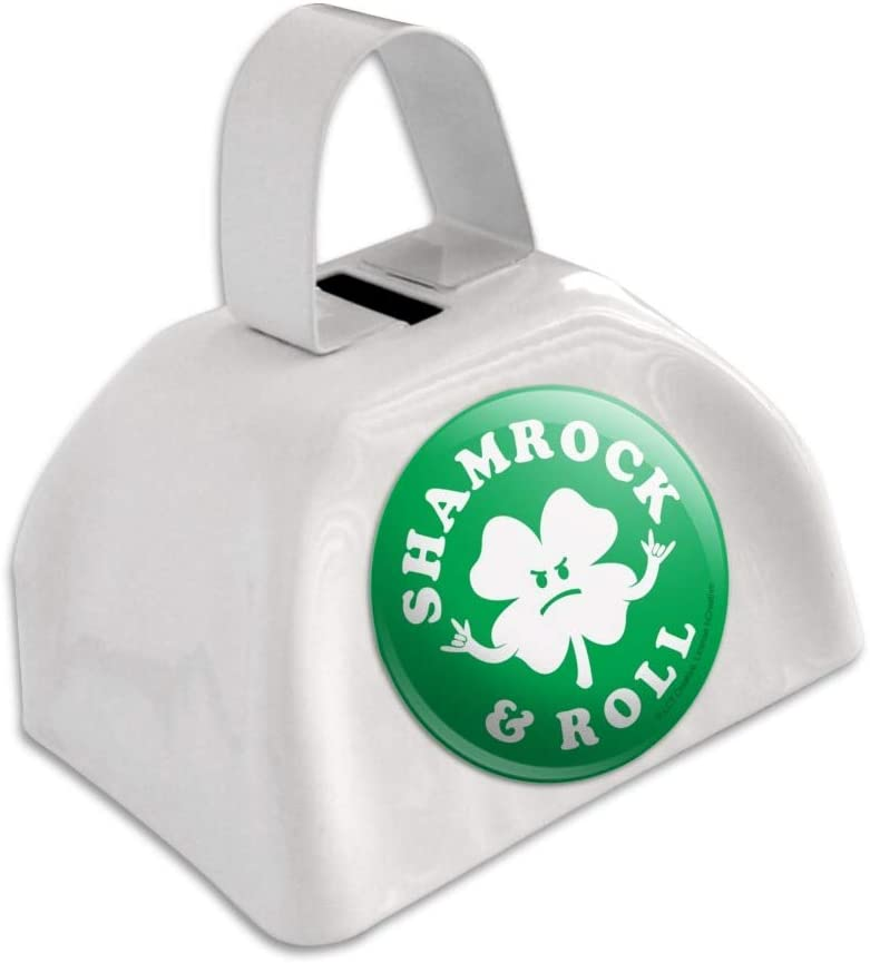 Shamrock and Roll Irish Rock Funny Humor White Metal Cowbell Cow Bell Instrument