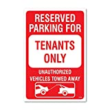 Reserved Parking for Tenants - Vehicles Towed with Graphic, 18' high x 12' wide, Red on White, Self Adhesive Vinyl Sticker, Indoor and Outdoor Use, Rust Free, UV Protected, Waterproof