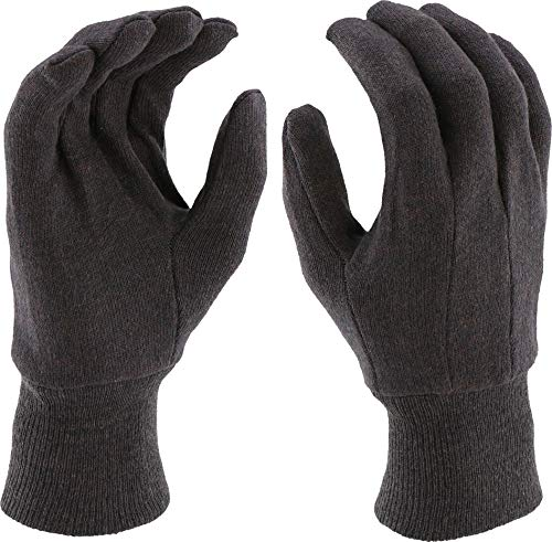 West Chester KBJ9I 100% Cotton Premium 10 oz. Jersey Gloves, Large, Brown (Pack of -