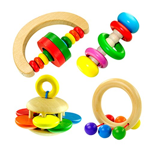 Wooden Flower Shaped Rattle Bell Toy - 1