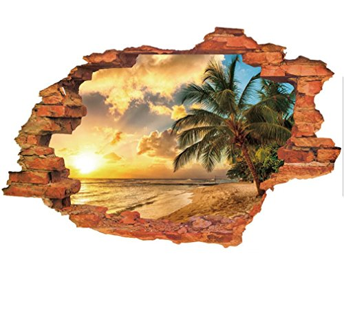 3D Fake Windows Wall Stickers Forest Bridge Lavender Desert Broken Wall Windows Landscape Pattern Decal Removable Vinyl Home Kids Nursery Room Decor Art Mural Wallpaper (4#Sunset (Landscape 2 Door Cabinet)