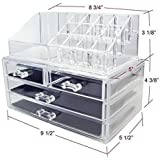 Clear Acrylic Cosmetics Makeup Organizer 4 Drawers with 16 Compartments Top Section