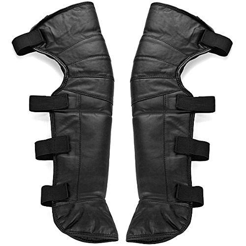 Un par Nuevo 23Negro Full polipiel cortavientos Invierno Exterior pie calentadores de rodilla polainas leggings Cubierta de la pierna Polainas Bicicleta Equitación Snow Skids