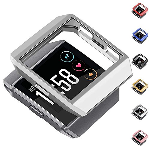 greatgo Compatible Fitbit Ionic Case Protector Soft Shock Proof Protective Slim Frame Durable Cover Accessories for Ionic smartwatch Women Men (Classic Silver)