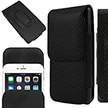 IWIO Samsung Galaxy S5 neo SM-G850 CARBON FIBRE BLACK PU Leather Protective Pouch Belt Magnetic Holster Flip Case Skin Cover