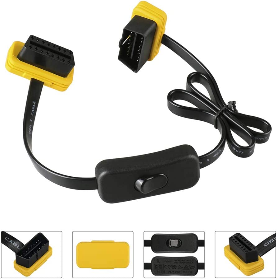 60CM+Switch Autool Car OBD2 Extension Cable Auto Male to Female OBDII Diagnostic Extender OBDII Connector