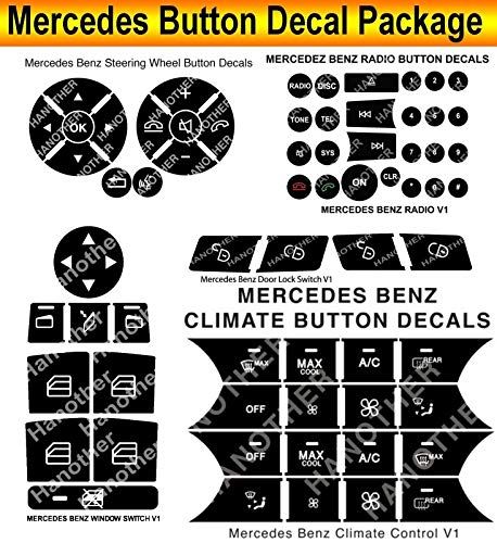 Benz Control Mercedes Climate (2007-2013 Mercedes Benz Button Repair Decal Package Steering Window Radio AC Climate Control Door Locks)
