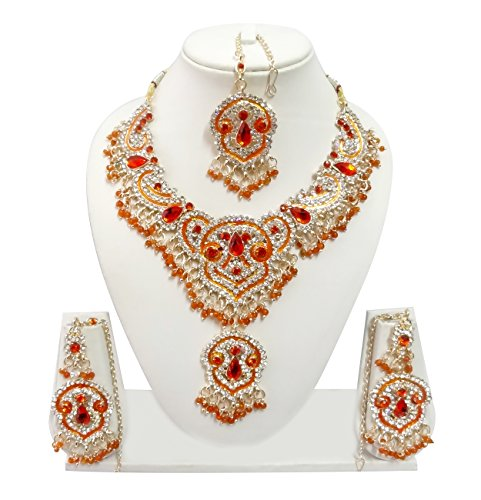 6bae31aa7 Exquisite Jewels Indian Bollywood Jewelry Set Ethnic Gold Plated Necklace  Set with Earrings and Maang Tikka
