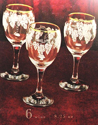 Melrose Collections Circleware Gold Rimmed Etched Wine Glasses
