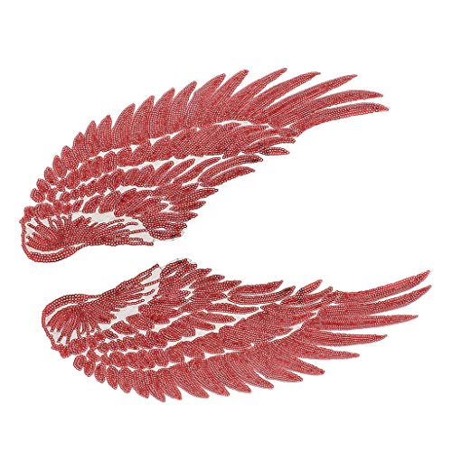 (1 Pair Large Sequin Angel Wings Patches Iron Sew on Appliques Clothing Decor | Color - Red)