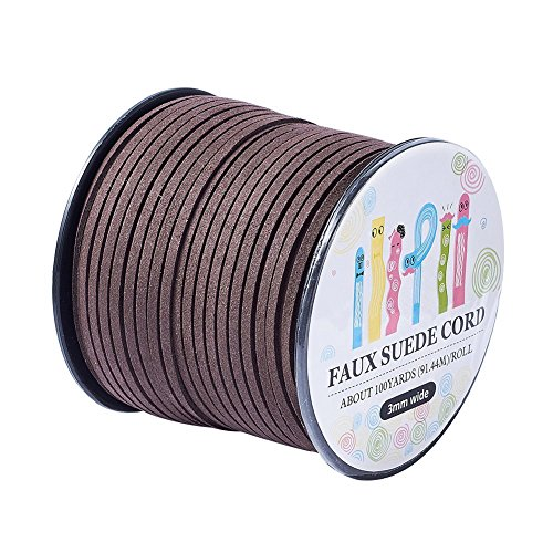 (Pandahall 98Yard 90m/roll 3x1.4mm Faux Suede Cord String Leather Lace Beading Thread Suede Lace Double Sided with Roll Spool 295feet)