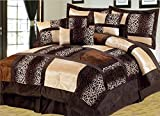 Alternative Comforter - 7 Piece Queen Leopard Patchwork Faux Fur Microfiber Comforter Set