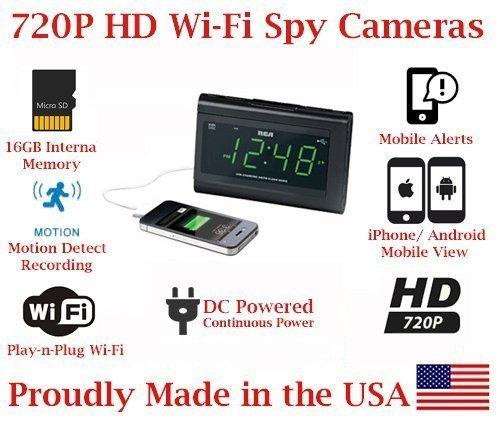 ( 100% COVERT ) SecureGuard 1080P HD WiFi Wireless IP Alarm Clock Radio Hidden Security Nanny Cam Spy Camera with 16GB Internal Memory ( 100% COVERT / No Pinhole / No Lights Sounds / No buttons ) (Spy Cam Radio)