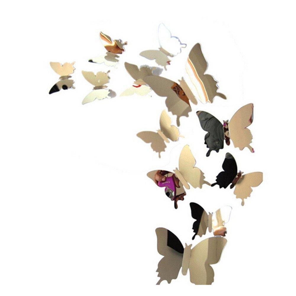 ODN 12 pi/èces Stickers Muraux de Papillons 3D Miroir Papillon Autocollants D/écoration Murale Amovible Violet