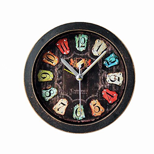Gusnilo Retro Old Black Wood Alarm Clock Fashion Creative Three-Dimensional Metal Rivets Clock Table Table Clock Black