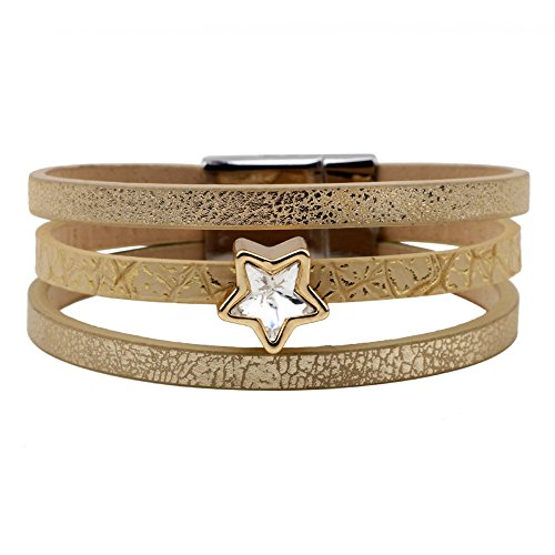 The November Nocturne Alloy Beauty 3 Row Crystal Five Star Leather Women Wrap Bracelet