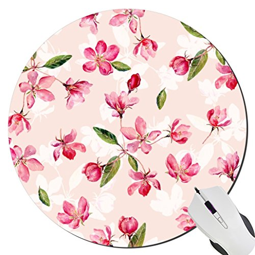 Romantic Peach - Romantic Peach Flowers Custom New Professional Design Game The Desktop Notebook Rubber Mouse Pad Mat Round Mousepad