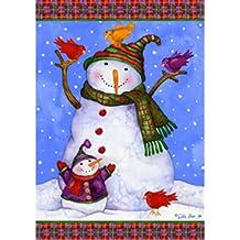 Custom Decor Snowman With Birds- Large Flag