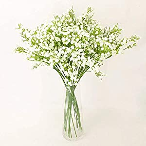 WinnsFlora 10 Branches (Pcs) Gypsophila Baby Breath Artificial Flower Bouquet, Approx. 900 Beautiful WHITE Flowers for Wedding Bridal Party Home Floral Arrangement Decor 59