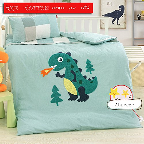 Abreeze Blue Cotton Nursery Crib Bedding Set for Boys Dinosaur Kids Comforter Set,3pcs by Abreeze (Image #2)