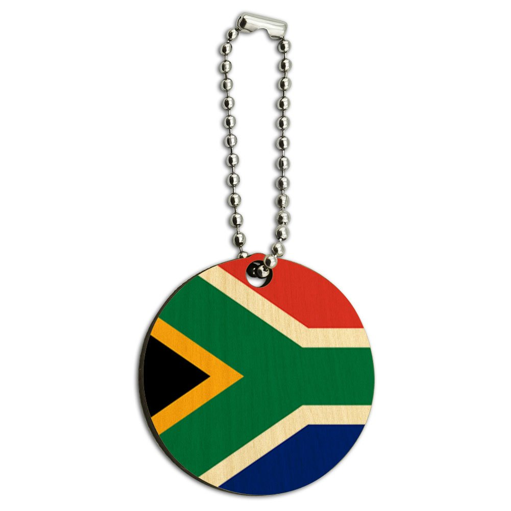 South Africa National Country Flag Wood Wooden Round Key Chain
