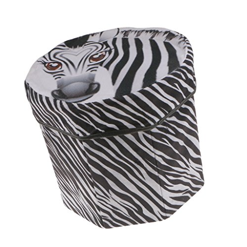 (MonkeyJack 3D Tropical Fruit Storage Stool Foldable Storage Box with Lid,Soft Plush Stool Seat Footstool Container,Watermelon/Kiwi/Zebra 3 Choice - Zebra)