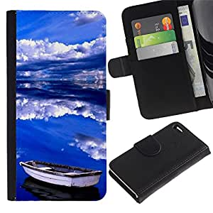 For Apple iPhone 4 / iPhone 4S,S-type® Sea Clouds Summer Storm Blue - Dibujo PU billetera de cuero Funda Case Caso de la piel de la bolsa protectora