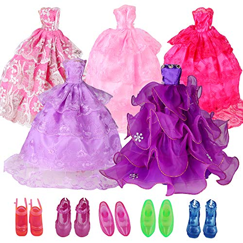 (UCanaan 5 Pcs Handmade Fashion Wedding Party Dresses Outfits Clothes for 11.8 Inch Girl Dolls + 5 Pairs Shoes for Dolls - The Great Birthday Gifts for Little Girls)