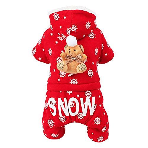 Diki Home 애완동물 용품견 양복 추동복 펑크 스타일 코트 재킷 방한 도그 웨어 도그복 애완동물복 크리스마스 축하 의상복 양복 소중형 견용보온 방한 (S)