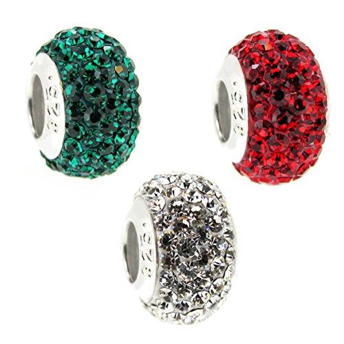 En argent sterling de Noël Rouge Vert Blanc cristal Charm Perle style européen