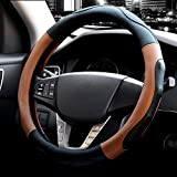 Automotive : Microfiber Leather Steering Wheel Cover Universal 15 inch (Style 3-Brown)