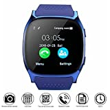 Smart Watch CoolFoxx Support SIM TF Card, Wristwatch with Camera,Pedometer, Sleep Monitor,Message Sync Notifier,Music Player,Sedentary for Android Samsung Huawei,HTC,ZTE(blue)